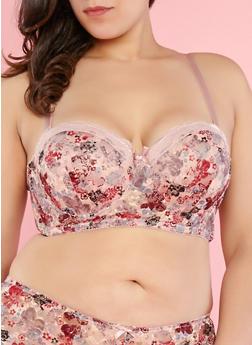 Plus Size Floral Lace Balconette Bra - 1169064879795