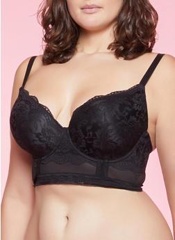 Plus Size Lace Longline Bra - 1169068060616
