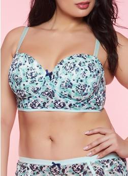 Plus Size Printed Lace Balconette Bra - 1169068064307