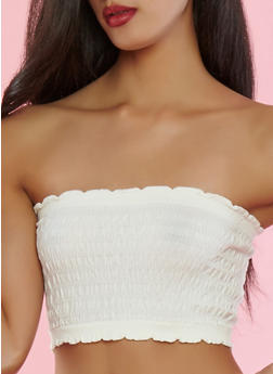 Smocked Bandeau Bra - WHITE - 1172068061683