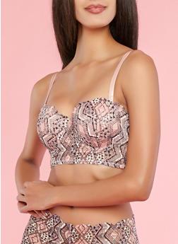 Aztec Pattern Lace Long Line Balconette Bra - 1175035160683