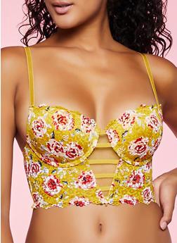 Floral Print Lace Longline Bra - 1175035160786