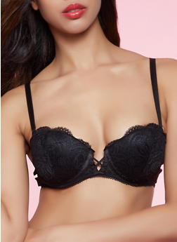 Scalloped Lace Caged Balconette Bra | Converts to Strapless - 1175059293437
