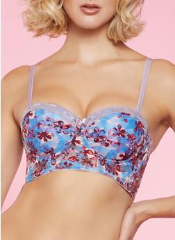 Floral Lace Longline Bra | Baby Blue - 1175064879223