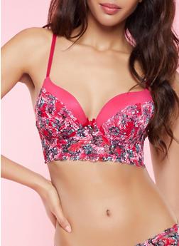 Floral Lace Mesh Long Line Bra - 1175068060781