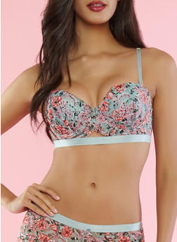 Printed Lace Push Up Balconette Bra - 1175068061769