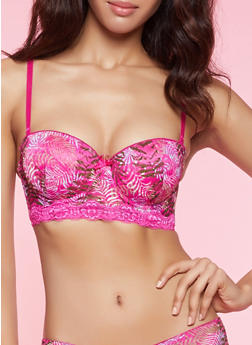 Leaf Print Long Line Balconette Bra - 1175068063651
