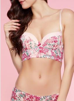Floral Lace Longline Push Up Bra - 1175068064019