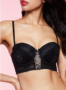 Lace Up Lurex Detail Longline Bra | Converts to Strapless - 1175068065308