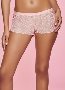 Peach Lace Boyshort Panty - 1176035160804