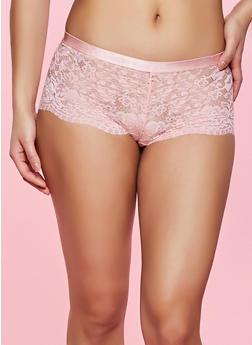 Lace Caged Back Cheeky Boyshort Panty - 1176035160810