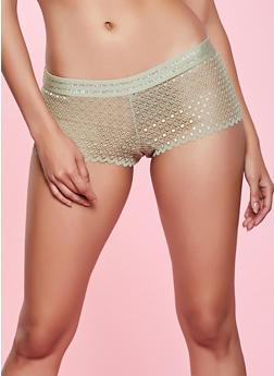 Lurex Trim Lace Boyshort Panty - 1176035161757