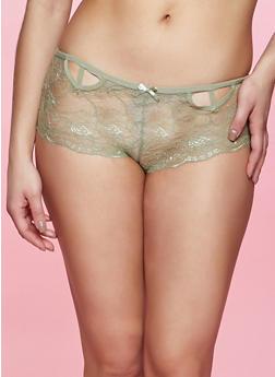Caged Front Patterned Lace Boyshort Panty - 1176035161802