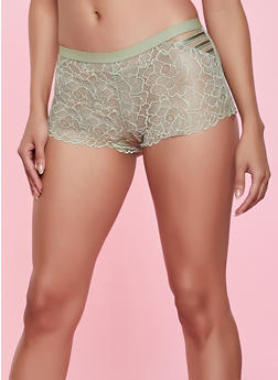 Solid Floral Lace Boyshort Panty - 1176035161804