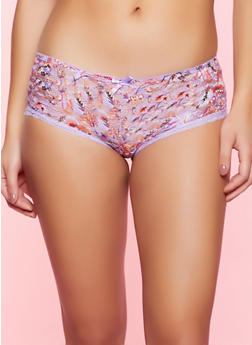 Contrast Trim Floral Lace Boyshort Panty - 1176064870102