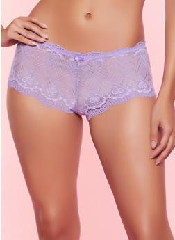 Patterned Lace Keyhole Back Boyshort Panty - 1176064870402