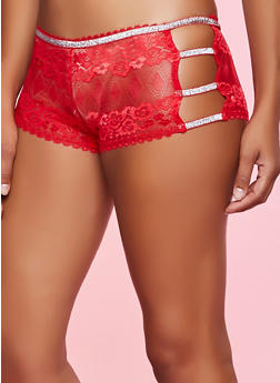 Lurex Trim Lace Boyshort Panty - 1176064873206
