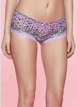 Printed Lace Boyshort Panty - 1176064874345