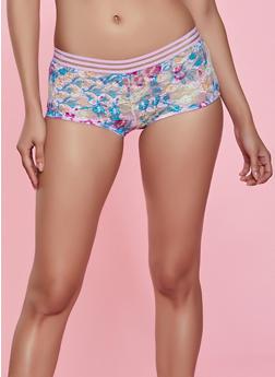 Shadow Stripe Band Floral Lace Boyshort Panty - 1176068065008