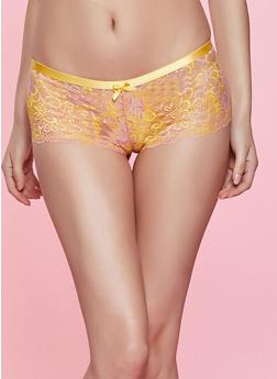Keyhole Back Floral Lace Boyshort Panty - 1176068065084