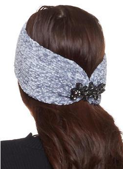 Chenille Rhinestone Detail Headwrap - GRAY - 1183042740025