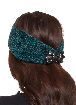 Chenille Rhinestone Detail Headwrap - GREEN - 1183042740025