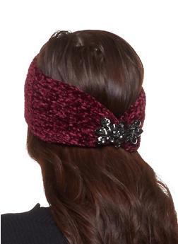 Chenille Rhinestone Detail Headwrap - WINE - 1183042740025