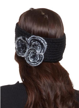 Knit Faux Fur Pom Pom Headwrap - BLACK - 1183042742181