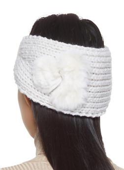 Knit Faux Fur Pom Pom Headwrap - NATURAL - 1183042742181