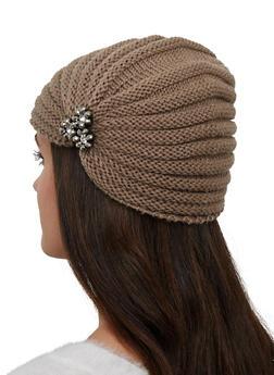 Beaded Flower Knit Turban Head Wrap - 1183042743000