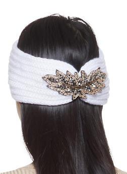Beaded Detail Knit Headwrap - WHITE - 1183042748818