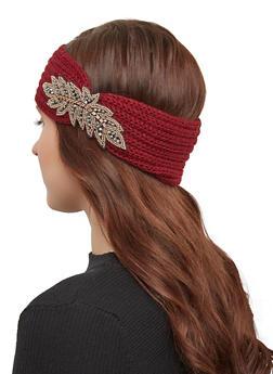 Beaded Detail Knit Headwrap - WINE - 1183042748818