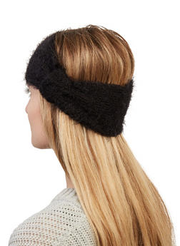 Feathered Knit Knot Front Head Wrap - 1183067444945