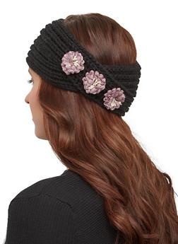 Flower Knit Headwrap - BLACK - 1183071210007
