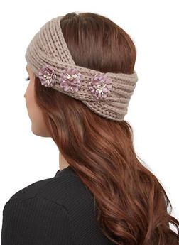 Flower Knit Headwrap - MAUVE - 1183071210007