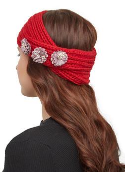 Flower Knit Headwrap - WINE - 1183071210007