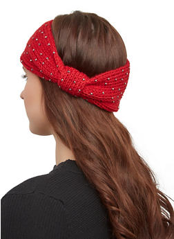 Studded Knit Headwrap - WINE - 1183071210012
