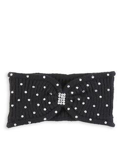 Rhinestone Knit Headwrap - BLACK - 1183071210022