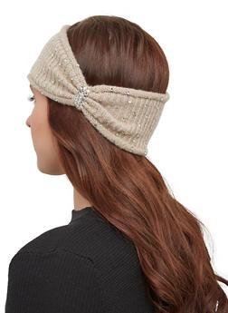 Rhinestone Knit Headwrap - OATMEAL - 1183071210022