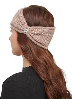 Rhinestone Knit Headwrap - MAUVE - 1183071210022