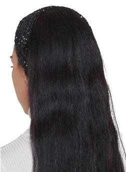 Sequin Knit Head Wrap - BLACK - 1183071210037