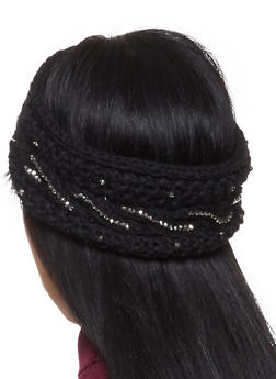 Studded Knit Headband - BLACK - 1183071210044