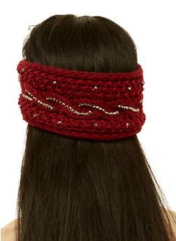 Studded Knit Headband - WINE - 1183071210044