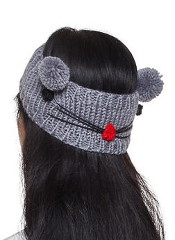 Animal Pom Pom Knit Head Wrap - 1183071210046