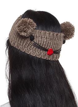 Animal Pom Pom Knit Head Wrap - BROWN - 1183071210046