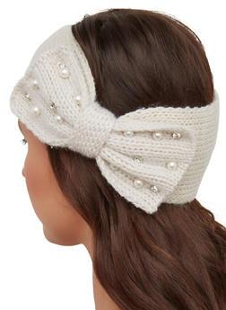 Faux Pearl Rhinestone Bow Head Wrap - 1183071210056
