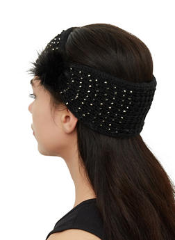 Knit Studded Pom Pom Head Wrap - 1183071210062