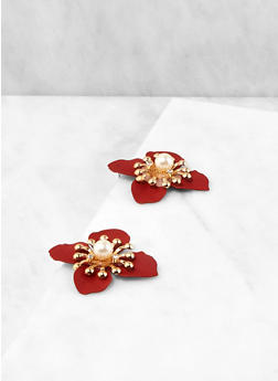 Faux Pearl Flower Stud Earrings - 1190003200805