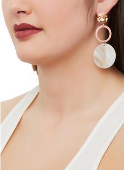 Rhinestone Shell Disc Earrings - 1190003201044