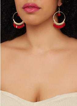 Beaded Trim Drop Hoop Earrings - 1190003203382